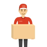 Delivery concept. Funny character man isolated on white with boxes.